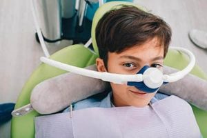 boy ready for Nitrous Oxide during his appointment